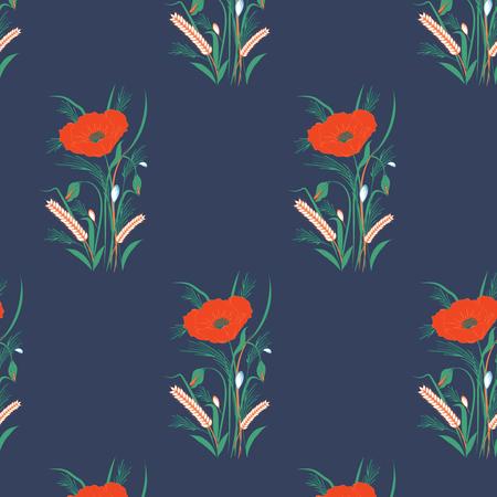 Pattern of wildflowers on dark blue background.