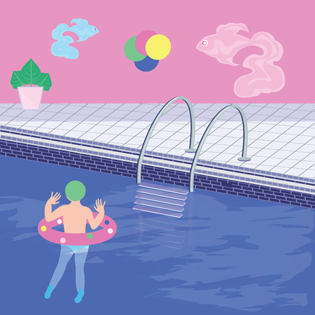 Child swims in the pool - vector art illustration. Sports Poster
