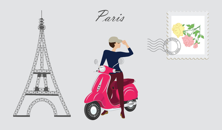 Girl on motor scooter - Eiffel tower - postage stamp with stamp - inscription - Paris - art vector illustration