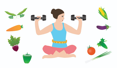 Woman with dumbbells sitting in lotus pose surrounded by bright vegetables isolated on white background.