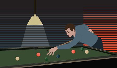 Billiard room, men with cue, billiard table with balls, art creative vector illustration.