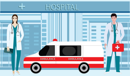 Doctors of ambulance silhouettes of men and women - on the background of the building of the Hospital - art vector Illustration