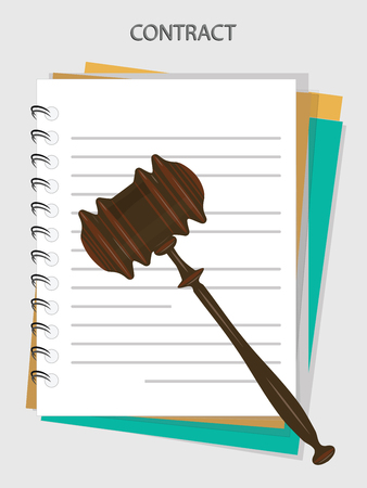 Form contract - stitched sheets, lined, in the stack, the judicial hammer - isolated on a light background - vector art