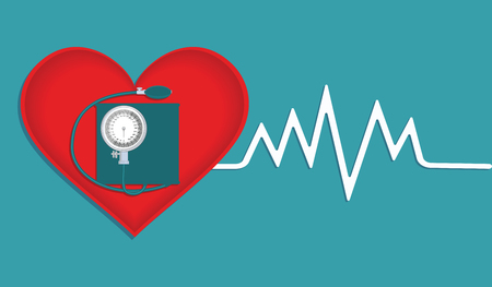Red heart, a chart and a blood pressure tonometer - isolated - vector