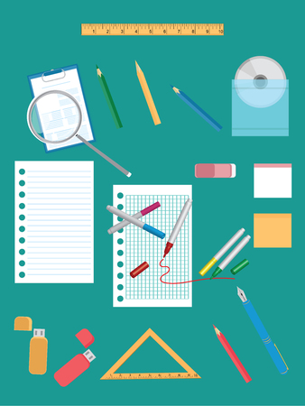 Set of educational objects - pieces of paper in the cage and in line, drive, pen, pen, pencil, ruler, triangle - flat style - vector art