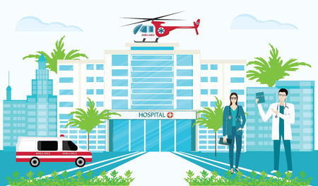 Hospital, doctors, auto and helicopter emergency ambulance, cityscape - art vector Illustration