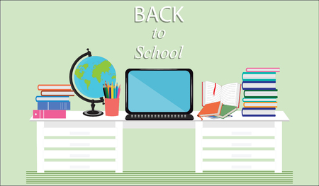 Back to school - a workplace for the student - desk, computer, globe, books - light background - flat style art vector