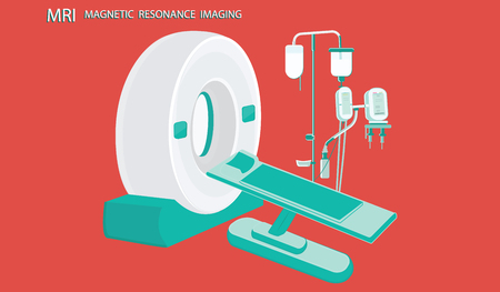 MRT machine for magnetic resonance imaging in the hospital. - flat style - vector