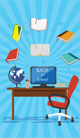 Back to school - workplace for the student - computer, globe, pencils, books, desk, chair - blue background, flat style - art vector Stock Illustratie