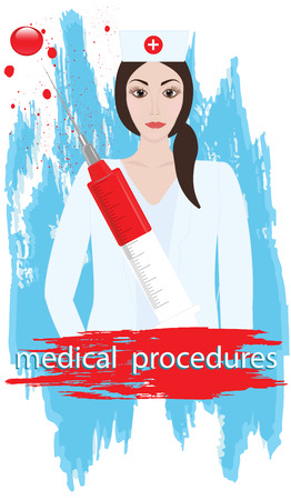 Medical procedures - Doctor, woman with syringe and blood drops - brush stroke style grunge - art illustration vector