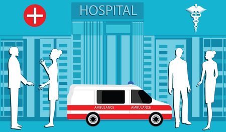Medical workers, silhouettes of men and women - on the background of the building of the Hospital, ambulance car - art vector
