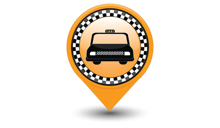Icon of taxi service - Placemark Map pointer navigation - isolated on white background - art vector