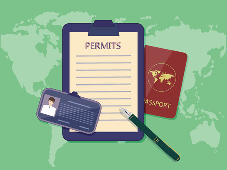 Blank permit on the holder, badge, passport, pen - on the background of the atlas of the world - art vector