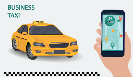 Application for taxis - Hand with smartphone and touch screen - yellow taxi - light background - vector illustration.