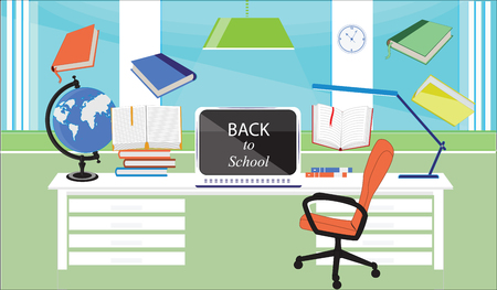 Back to school - workplace for the student - window, table, lamp, computer, globe, books, - salad background, flat style - art vector