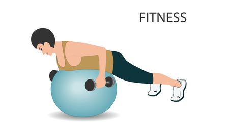 Fitness with ball - weight training with dumbbells - isolated on white background - flat style - art vector Stock Vector - 108053424