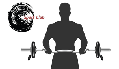 Image of a bodybuilder with a bar - abstract logo for a sports club - flat style - isolated on a white background - vector. 일러스트