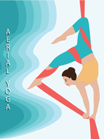 Aerial acrobatics. Woman doing an exercise on a silk ribbon - art vector.