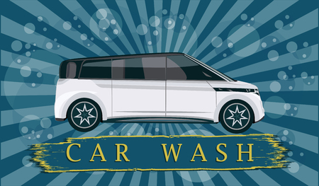 Banner Car wash - machine, abstract background of water droplet and lucy - art vector Illustration