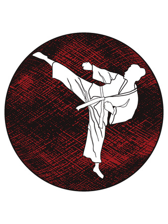 Karate, judo - Silhouette girl in combat stance - abstract grunge black and red circle - isolated on white background - flat style - vector Illustration