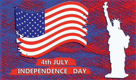 4 July - Independence Day - American flag, Statue of Liberty - red-blue background in grunge style - art vector Ilustração