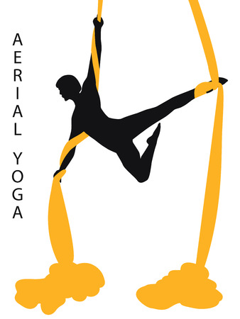 Air yoga - silhouette of an athlete with a silk ribbon - isolated on a white background - flat style - art vector 일러스트