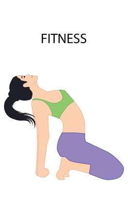 Fitness - girl doing exercise - isolated on white background - art vector