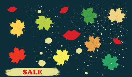 Sale. Autumn leaves, splashes, red lips - dark background - art vector Ilustração