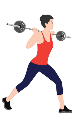 Fitness with a barbell - strength exercises for women - isolated on white background - flat style - art vector Ilustração