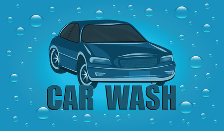 Service Machine wash - car and water drops - art vector
