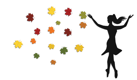 Silhouette of a girl with bright autumn leaves - isolated on white background - flat style - art vector Ilustração