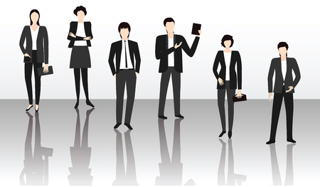 Team of young people in business suits - mirror image on black and white background - art vector.