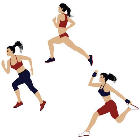 Athletes, three girls, jogging - isolated on white background - flat style - vector  イラスト・ベクター素材