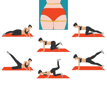Aerobics, fitness - complex exercises for losing weight - flat style - vector Illustration