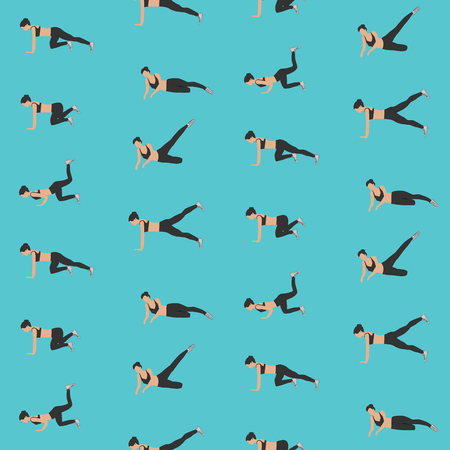 Sports pattern - fitness - girl performs a set of exercises for losing weight - light background - vector Illustration
