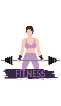 Girl with a barbell - isolated on white background - flat style - art vector. Fitness club