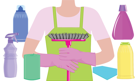 Cleaning service - a man's silhouette, a brush in his hands in rubber gloves, vials of cleaning products - art vector