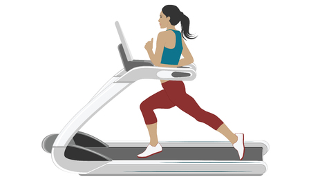 Sports woman - training on a treadmill - isolated on white background - flat style - art vector