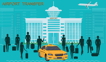 Taxi, airport building - A group of people with luggage, airplane - vector art. Concept of Transport Services