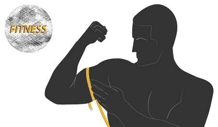Silhouette athlete measuring tape muscles - emblem Fitness - flat style - isolated on white background - art vector
