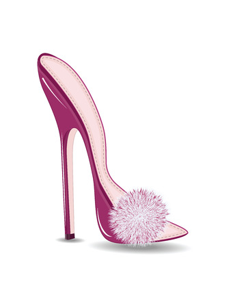 Female summer pink shoes, decorated with fluffy fur - high heel - isolated on white background - flat style - art vector