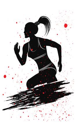 Runner - silhouette of woman - brush stroke, grunge element, red splashes - isolated on white background - flat style - vector