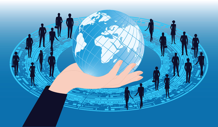 Hand with globe - Group of people - technological symbols - blue background - vector art. Concept of Information Ideas. International Business