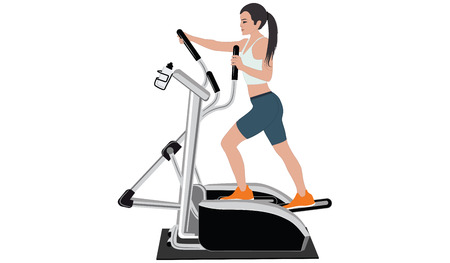 Woman on a stepper simulator - flat style - isolated on white background - art vector Vettoriali