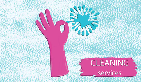 Cleaning service-hand in pink rubber glove symbol of excellent work - brush stroke, grunge background - art vector.