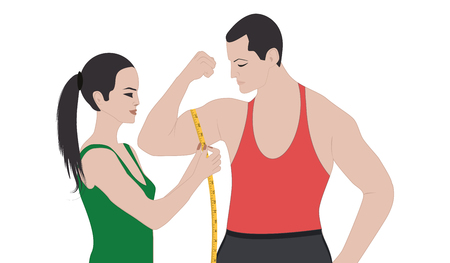 Man with inflated biceps - Girl with measuring tape - isolated on white background - Flat style - vector