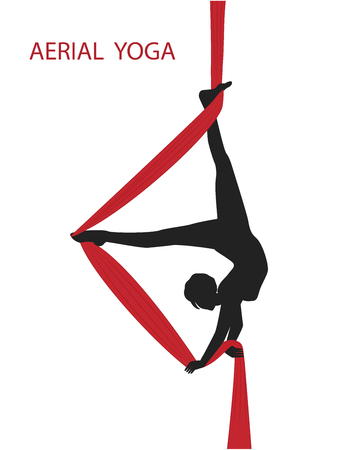 Aerial gymnastics Silhouette of a woman on a red hammock - isolated on white background - vector art. Illustration