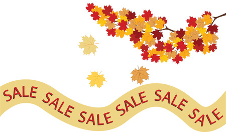 Branch with autumn leaves - ribbon with inscription sale - isolated on white background - art vector