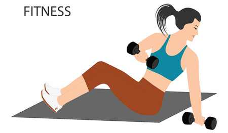 Fitness - strength exercises with dumbbells - isolated on white background - flat style - vector art Ilustração
