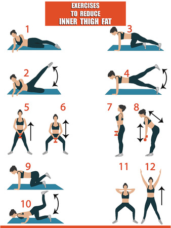 Fitness - slimming legs - woman shows exercises on the rug and with dumbbells - art vector. Sports poster